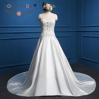 Jeweled Soft Sweetheart Heavily Beaded Corset Satin Wedding Ball Gown Crystal Beaded Wedding Dresses Real Photo