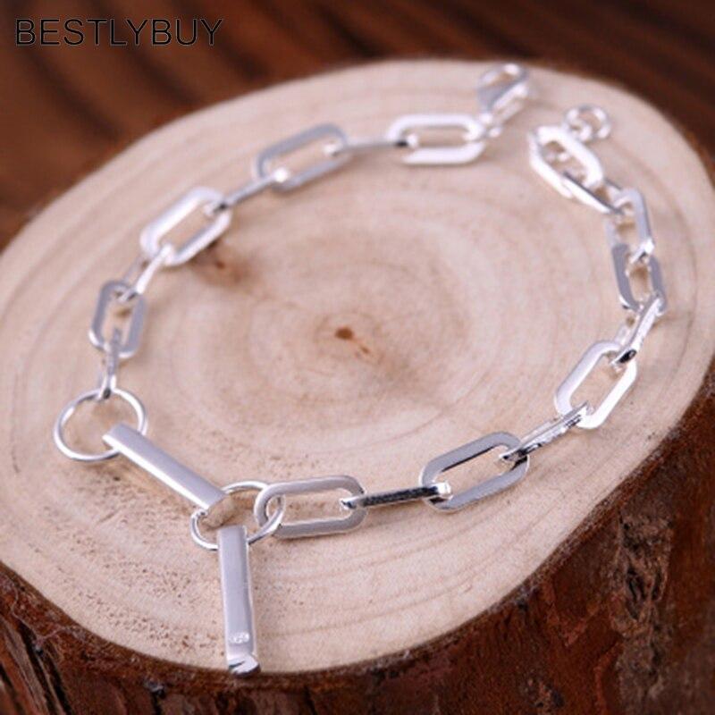 BESTLYBUY véritable véritable pur solide 925 Bracelet en argent Sterling Bracelet pour femmes bijoux carré perle femelle main chaîne bande