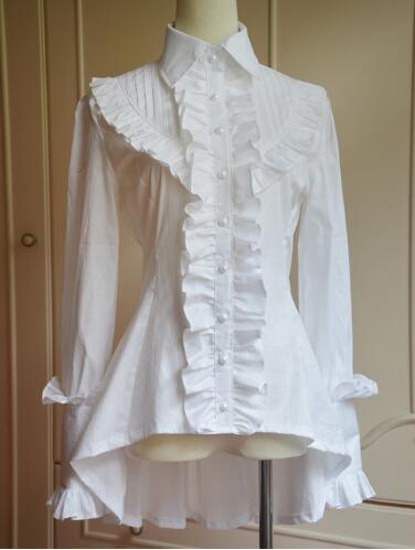 font b Classic b font White Black Turn Down Collar High Low Long Sleeve Lolita