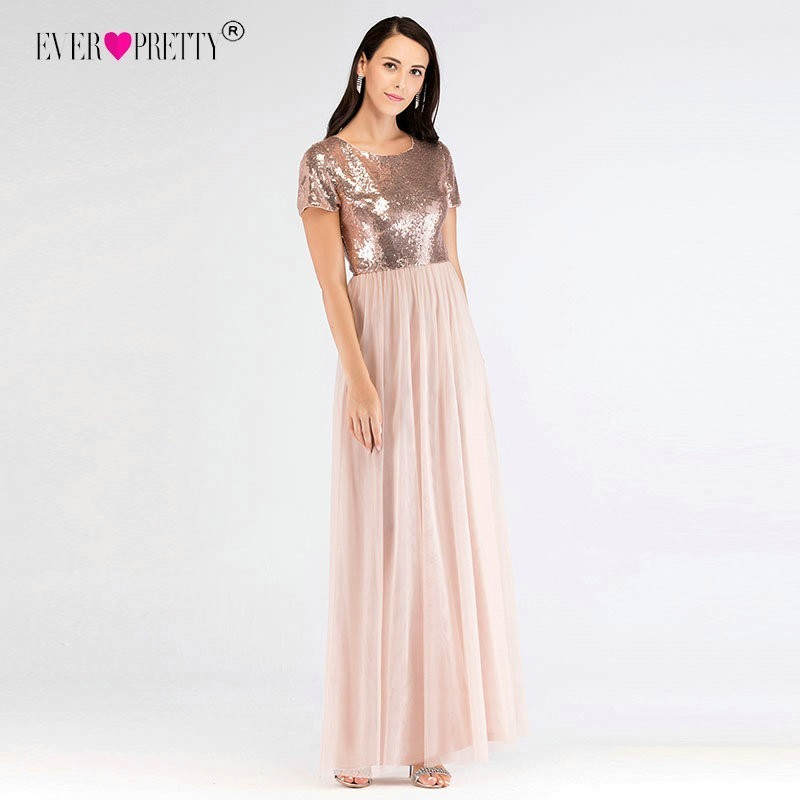 e10f49f1774 Elegant Short Sleeves Sequined Bridesmaid Dresses Ever Pretty EZ07610RG  Women`s Long A-Line Rose Gold Dresses For Wedding Party ~ Super Deal May  2019