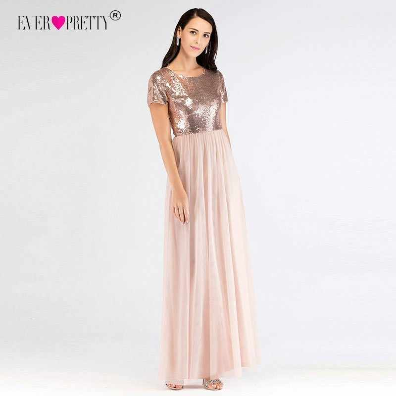 3a83905cff9f Detail Feedback Questions about Elegant Short Sleeves Sequined Bridesmaid  Dresses Ever Pretty EZ07610RG Women`s Long A Line Rose Gold Dresses For  Wedding ...