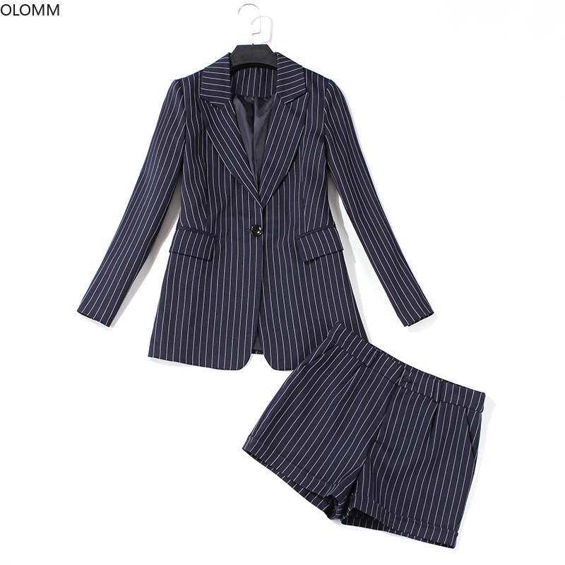High Quality 2019 Autumn New Fashion Striped Long-sleeved Blazer Casual Shorts And Suit Jacket Set Women's Suit Office Suit