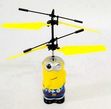Sale Promotion Best Gift Induction Flying Toy Despicable Me Minion Remote Control RC Helicopter Quadcopter Drone Kid Toys mjdtoy