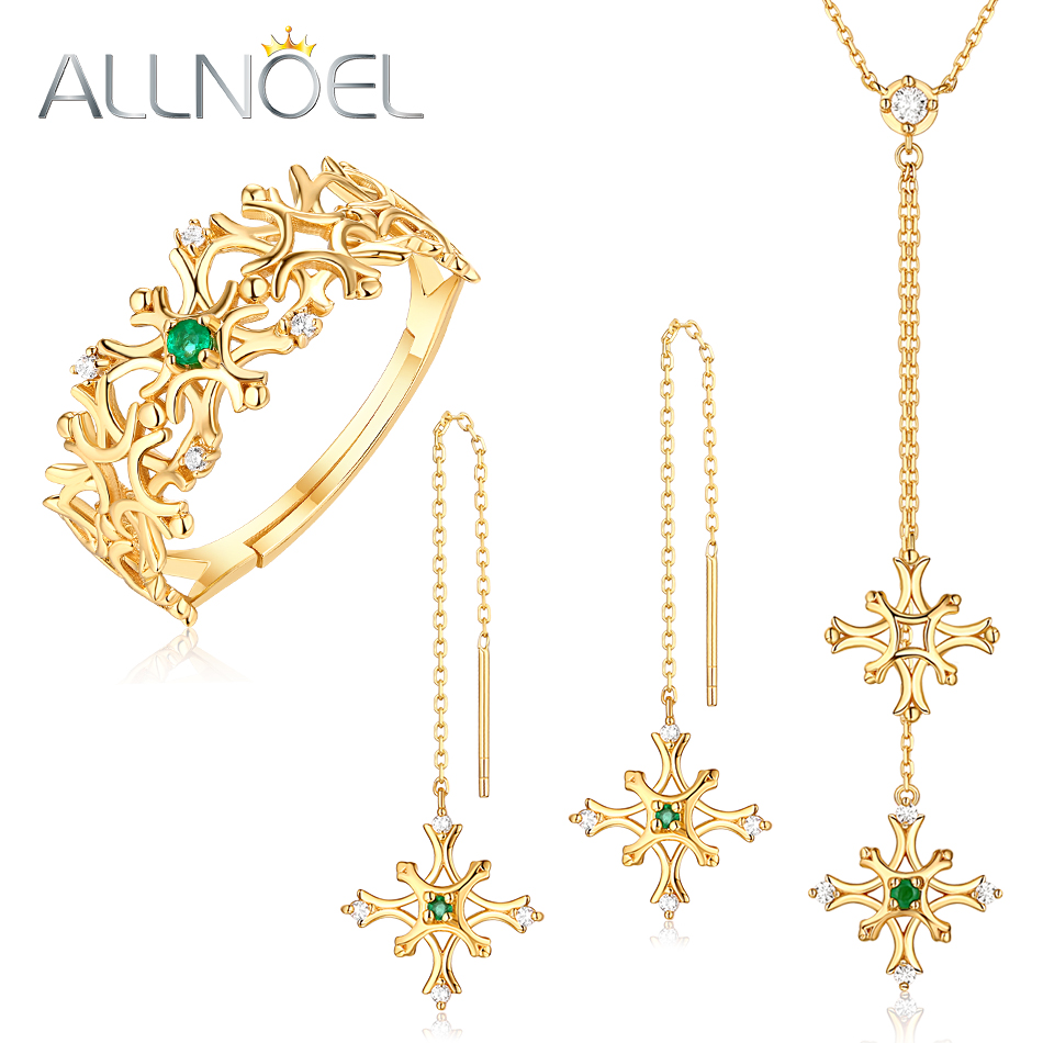 ALLNOEL Jewelry Set 925 Sterling Silver Pendant Necklace Earrings Ring Set Natural Emerald Valentine Gifts For