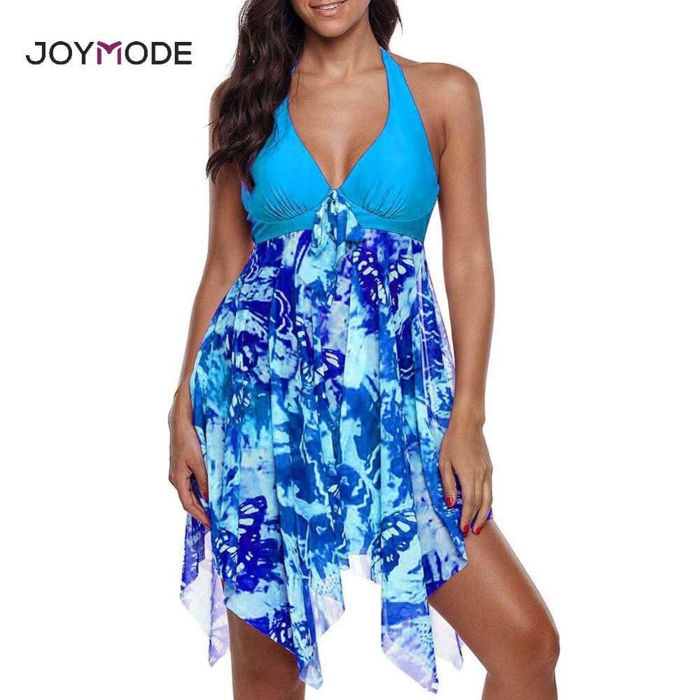 a9ed87e31d JOYMODE Plus Size Swimwear Women Skirt One Piece Sexy Swimsuit Padded Bra tankini  Bathing Suit xl