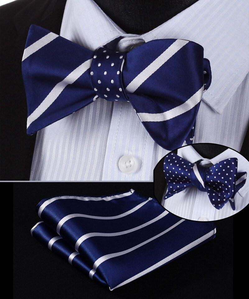 BE03V Blue White Stripe 100%Silk Double Sided Woven Men Butterfly Self Bow Tie BowTie Pocket Square Handkerchief Hanky Suit Set