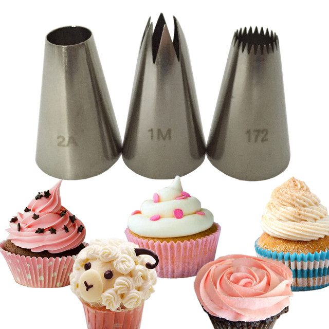 3pcs Set 1M 2A Cream Cake Icing Piping Russian Nozzles Tips Pastry Tool  Cake Decorating Tip Flower Cake Making Stainless steel 0f3c5d702740