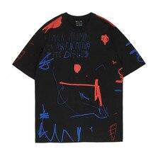 Women Men T-shirt OVDY Graffiti TEE Hip Hop High Street Kanye West Cotton print Harajuku Oversized Letter O-neck Short Tshirt