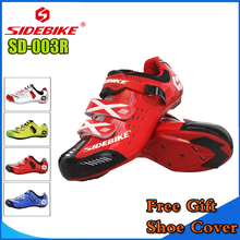 SIDEBIKE Men Women Cycling Shoes Road Bicycle Shoes Ultralight Self-locking Cycling Bike Shoes Sneaker Sapatos de ciclismo Red