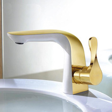 high quality Basin faucet brass unique design bathroom faucet luxury single lever gold and white sink faucet basin faucet
