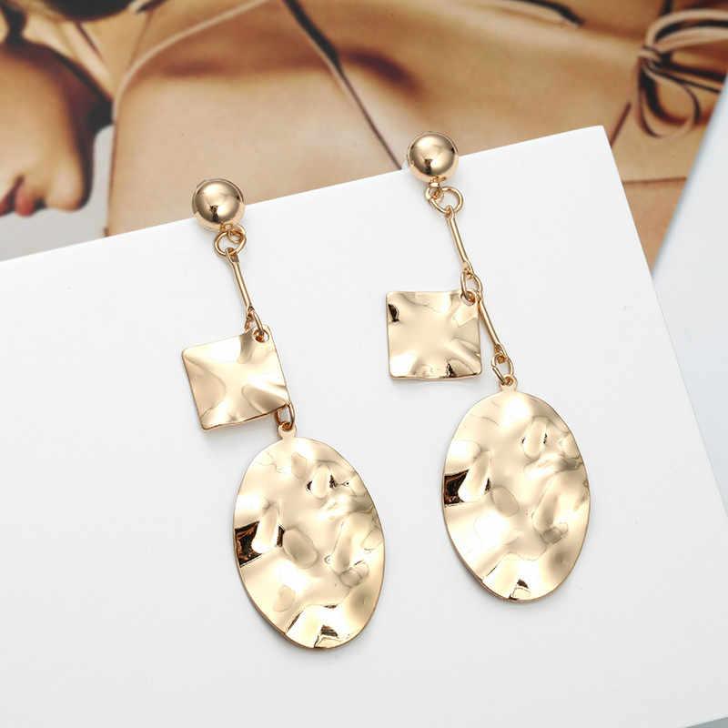 הולו גיאומטרי כיכר עגילי פשוט מתכת זרוק עגילי בוהמי הודי תכשיטי כסף זהב עגילים לנשים Brincos