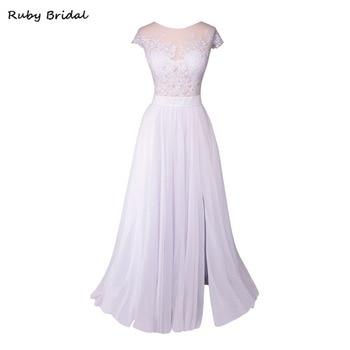 Ruby Bridal 2017 Charming Long A-line Wedding Dresses White Iovry Chiffon Appliques Bridal Gowns Split Hot Robe De Mariage KW12