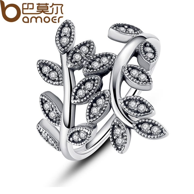 цена на BAMOER 925 Sterling Silver Sparkling LEAVES SILVER RING WITH CUBIC ZIRCONIA for Women Original Jewelry PA7114