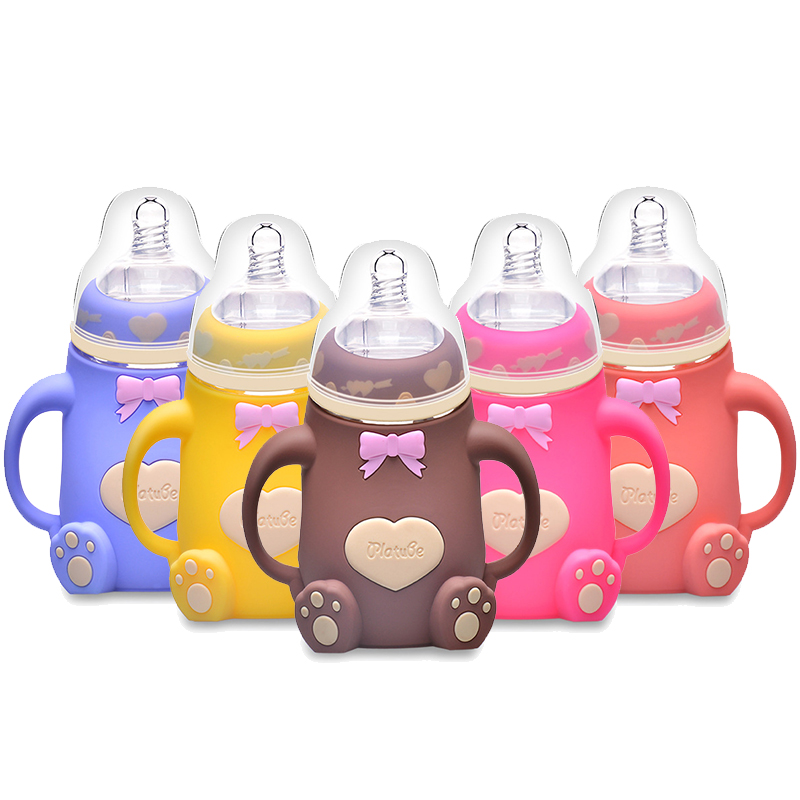 Baby Feeding Bottle Newborn Watertight design Cup Heat proof Imitation Breast Milk Soft Soother Infant Drinking Water Bottles 240ml standard mouth baby infant kids automatic pipette straw pacifier nipple milk feeding bottle non slip handle