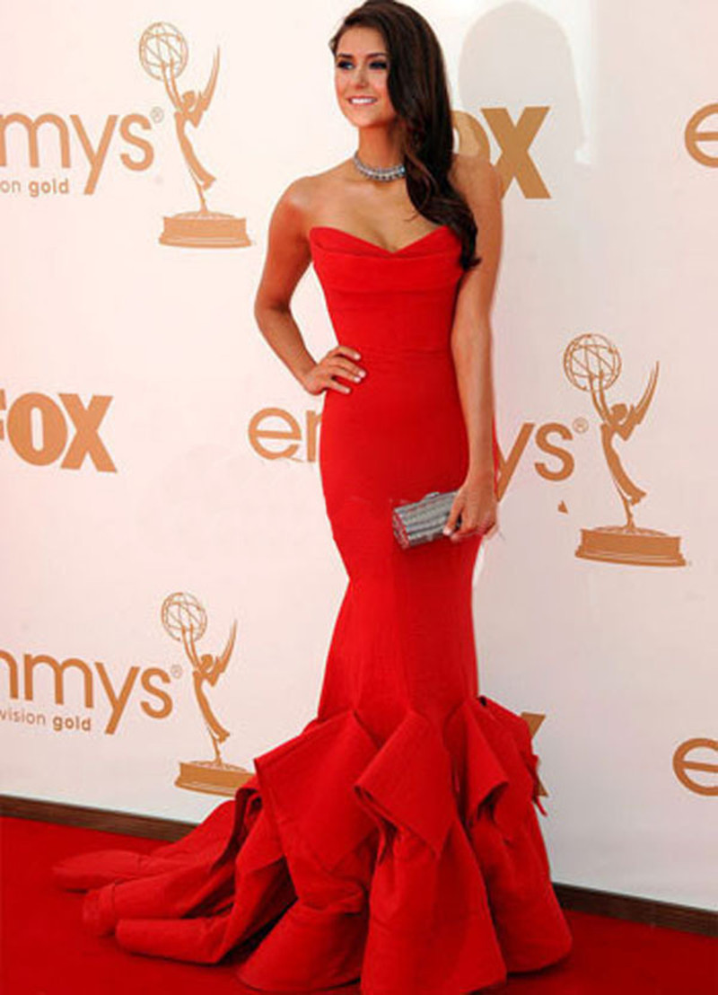 Nina Dobrev Celebrity Dresses Red Carpet Sweetheart Mermaid Ruffle Off The Shoulder Full Length Free Shipping In Inspired From