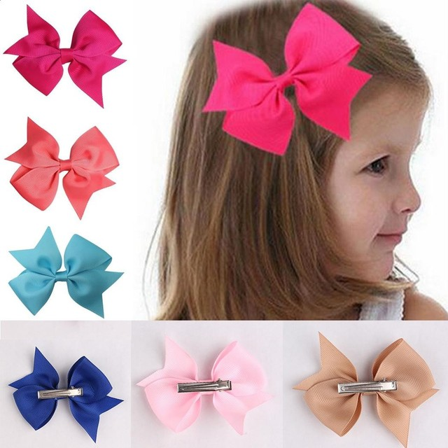 32f65d4d959cf 10pcs Solid Ribbon Bow Hair Clip Hair Accessories For Baby Girls Hairclips  Kids Alligator Clips Party Headband Baby Hair Bows