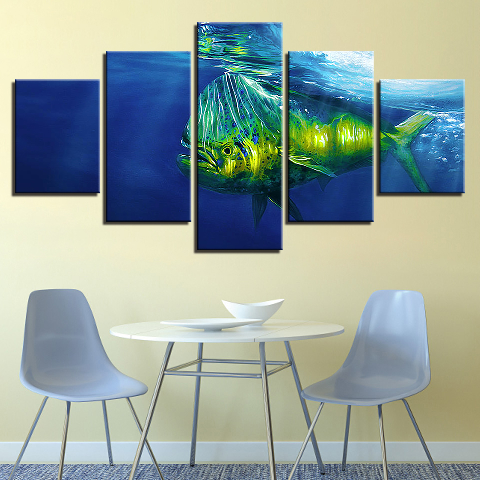 Fashionable Canvas HD Dwelling Decor Dwelling Room Printed 5 Panels Fish Backside Of The Sea Footage Portray Wall Poster Artwork Modular Portray & Calligraphy, Low-cost Portray & Calligraphy, Fashionable...