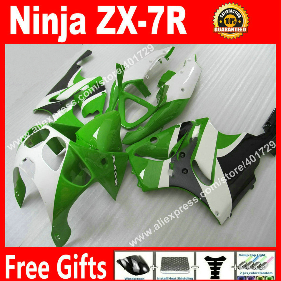 ABS plastic Fairings for 1996-2003 Kawasaki Ninja  ZX7R 96 97 98 99 00 01 02 03 green white motorcycle fairing plastics MK94