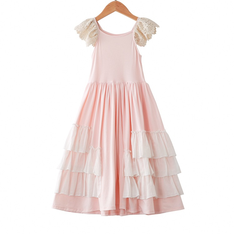 Baby Girls Lace Fly Sleeve Layered Dress Pink Color Princess Ruffles Party Holiday Kids Children Dresses
