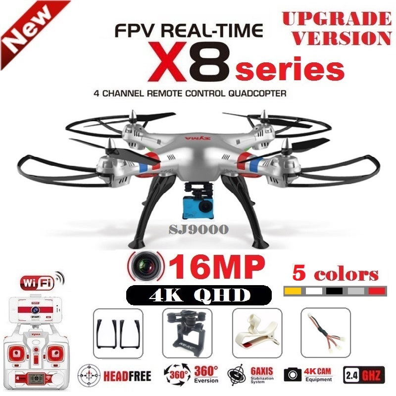SYMA X8C X8W X8G X8HG X8 RC Drone con SJ9000 16MP 4 K Cámara WiFi 2,4G 4CH FPV Quadcopter profesional Drone helicóptero 4 colores