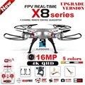 Syma x8c x8w x8g x8hg x8 rc drone com sj9000 16mp 4 K WiFi Câmera 2.4G 4CH FPV Quadcopter Zangão Helicóptero Profissional 4 cores