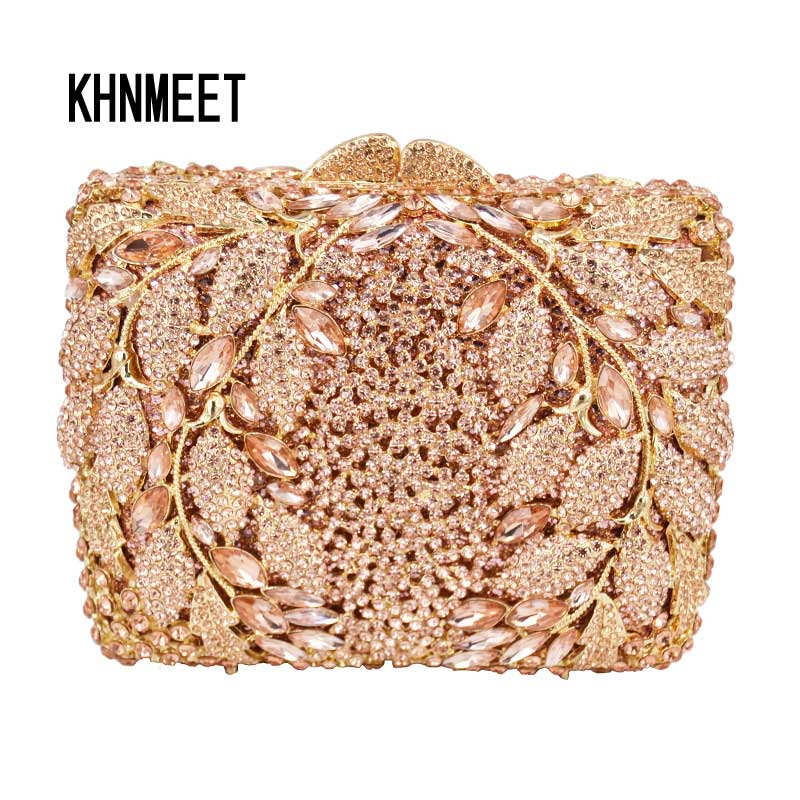 Fashion Leaves Pattern Luxury Champagne Crystal Diamond Clutch Bag Square Party Purse Female Pochette Box Evening