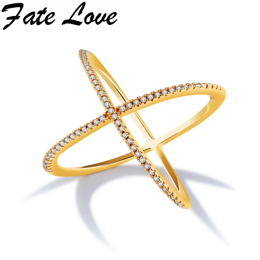 Fate Love Latest Fashion Gold Cross Luxury Rings Micro Pave CZ For Woman Anniversary Jewelry Copper Finger Ring wholesale FL052