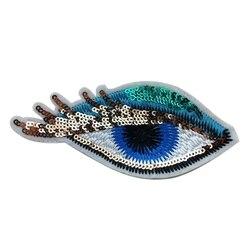 1 pc Evil Eye Fer sur les Patchs Pour Les Vêtements Autocollant Coudre Sur Sequin Applique Badge Motif de Broderie DIY accessoires