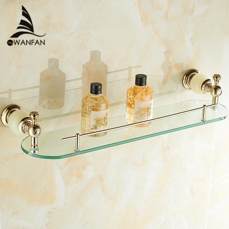 Bathroom Shelves Wall Mounted Jade Golden Bathroom Shelf Brass Made Base + Glass Shelf Single Tier Bathroom Accessories HY-28 free shipping golden single bathroom shelf glass shelf brass made base glass shelf bathroom hardware bathroom accessories 67011