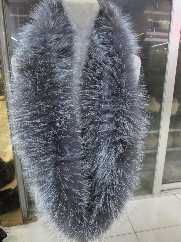 Elegant  Fashion 100% Real fox  Fur  knitted long Neckerchief /Scarf//Warm  Natural Silver blue fox