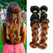 4PCS 7A Indian Ombre Loose Wave Hair Extensions Ombre Human Hair Weave Color 1b 30 Ombre Virgin Hair Tissage 10-30inch BL432