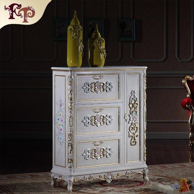 Luxury Furniture Gold   Antique Hand Carving Leaf Gilding Shoe Cabinet