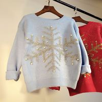 And Winter The New Rabbit Hair Silk Snowflake Pattern Nail Bead Long Sleeved Thickening Of The