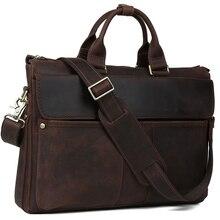 2017 Handmade 100% Genuine Leather Handbag Vintage Briefcase For Men Dark brown Laptop Bag Original Design 1096