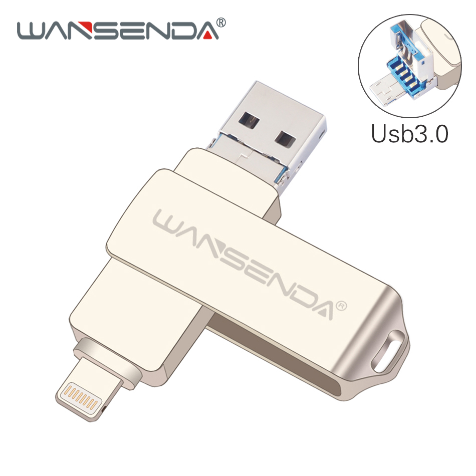 WANSENDA USB Flash Drive 128GB OTG Pen Drive For IPhone/Android/PC 3 IN 1 Micro USB Stick 3.0 16GB 32GB 64GB Pendrive Flash Disk