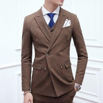 cbfd081d5a390 (Ceket + Yelek + Pantolon) erkek Moda Butik Gelinlik Suit Üç parça Suit/Erkek  Ince Kruvaze Iş Takım Elbise