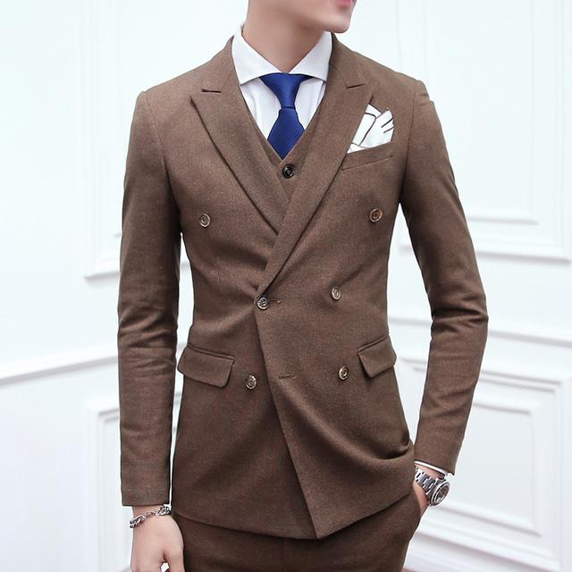 (Jaqueta + colete + Calça) boutique de moda do casamento vestido de terno dos homens três-piece ternos/Masculino trespassado de Slim ternos de negócio