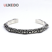 100 Pure 925 Sterling Silver Bangle Cross Fashion Punk Hand Chain For Men And Women Sprcial