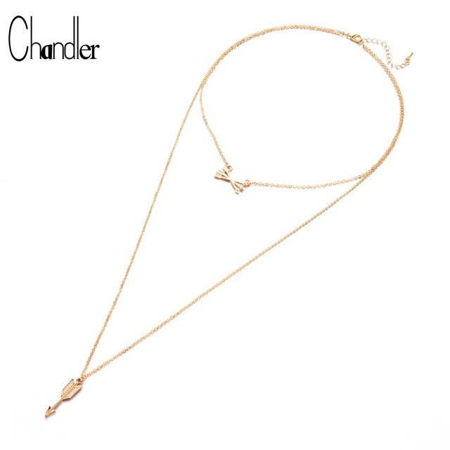 d691c88fa4ad Chandler Romantic Women Accessories Hot Fashion Plated Metal Chain Cupid  Arrow Necklace Long Pendant Multi-