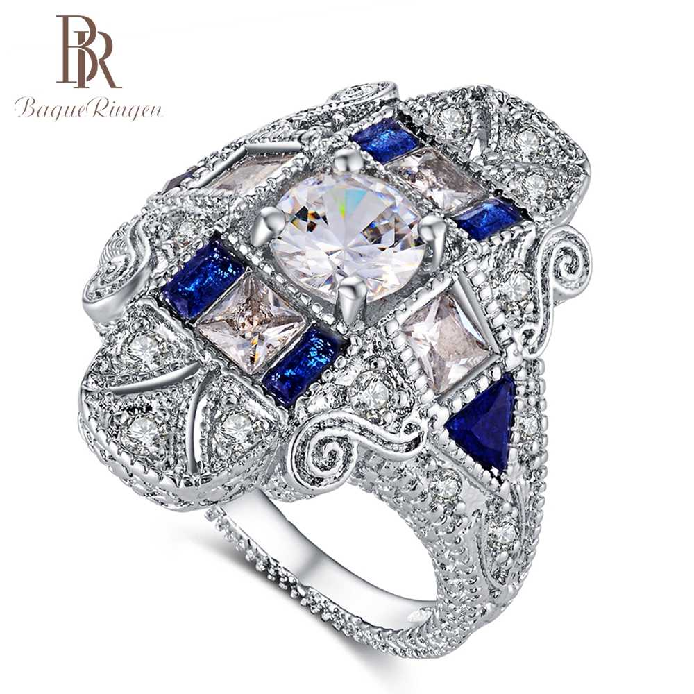 Bague Ringen Luxury Antique Rings For Women Vintage Charm Blue Occident Punk Silver 925 Jewelry Ring With AAAA Zircon Hot sale