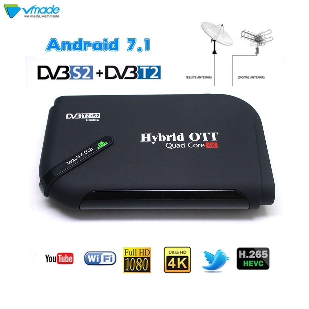 DVB-T2 DVB-S2 H.265 Android 7.1 1+8GB TV Box Terrestrial Satellite Receiver Combo Support Youtube Netflix Smart Media Player android 7 1 1gb 8gb dvb t2 quad core ott bt4 0 h 265 mpeg 4 dvb t2 tv tuner support netflix youtube google 4k smart set top box