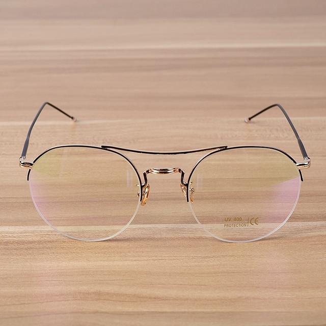 ef8b96aace2 New Fashion Round Half Frame Glasses Women Men s Big Optical Eyeglasses  Frames Elegant Male Female Metal Spectacles Cool Eyewear
