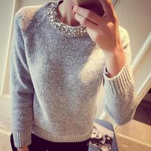 loose korean knitted women sweater beading o neck long sleeve female thick Sweater Pullover winter novelty mixture woolen warm