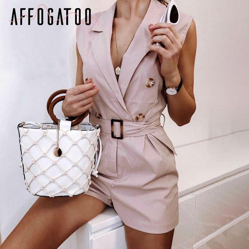 Affogatoo Sexy vintage V-neck sash belt women   jumpsuit   Elegant button summer short playsuit Casual streetwear ladies mini romper