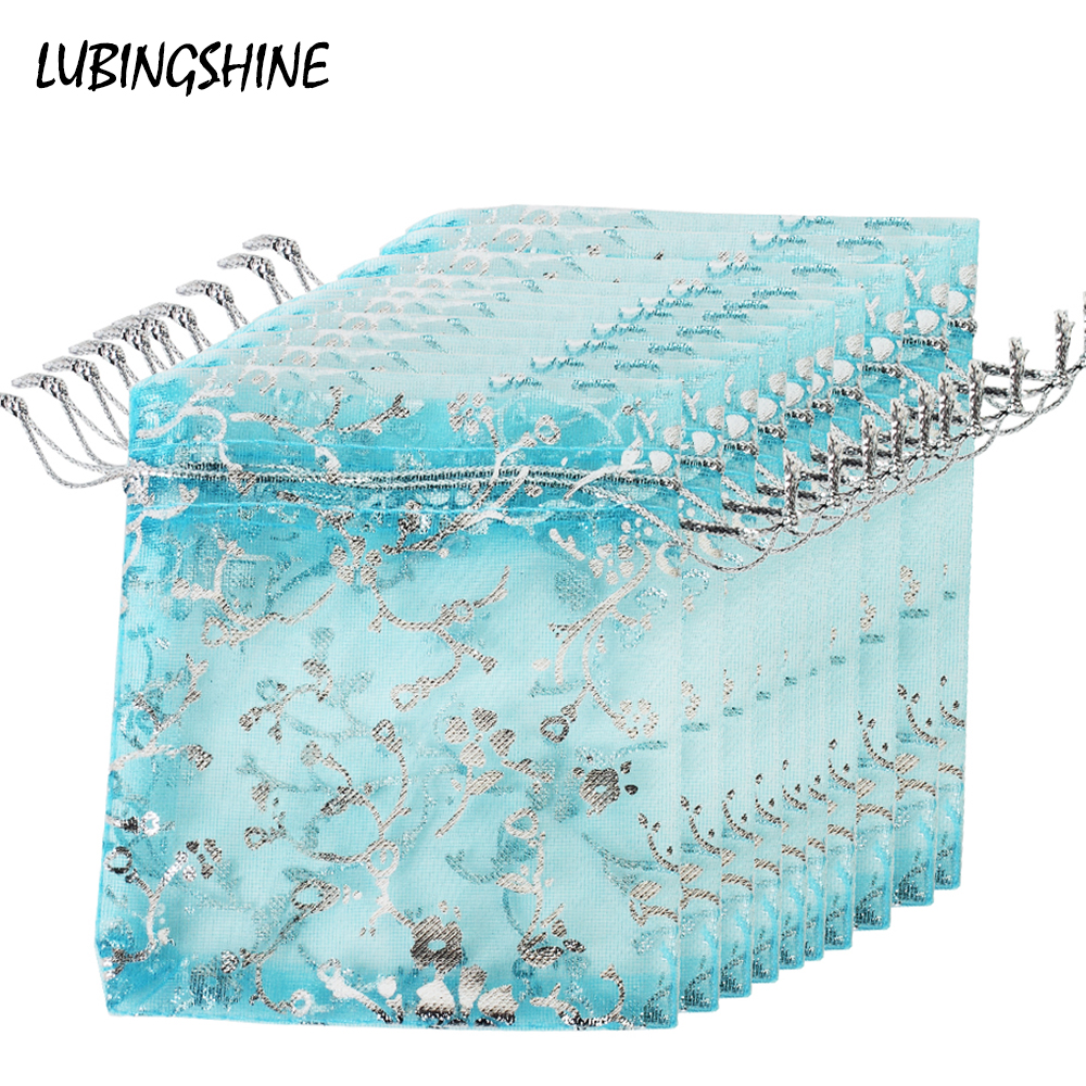 50 Pcs/set 8*10cm Strap Drawstring Organza Bags With Silver Color Flower Jewelry Packaging Womem Wedding Birthday Gifts Bags