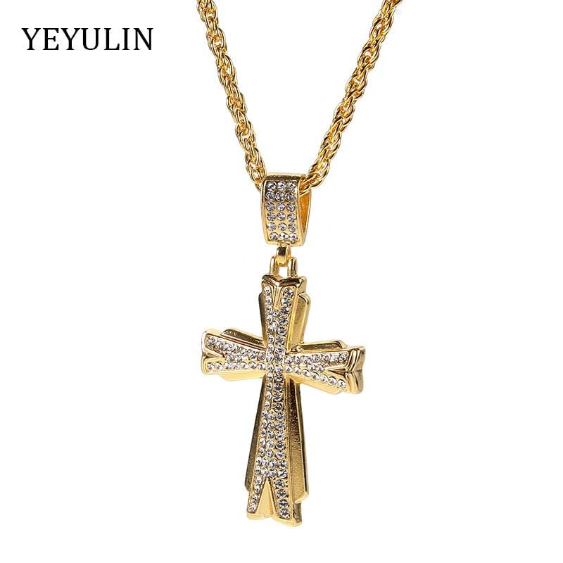 Fashion Alloy crystal rhinestone Cross Pendant Necklace Sweater Chain Jewelry