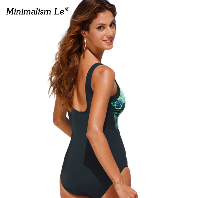 26106f2de94 Minimalism Le 2018 Sexy One Piece Swimsuit Print Feather Tankini Female  Bikinis Bathing Suits Women Swimwear Plus Size XL -in Body Suits from Sports  ...