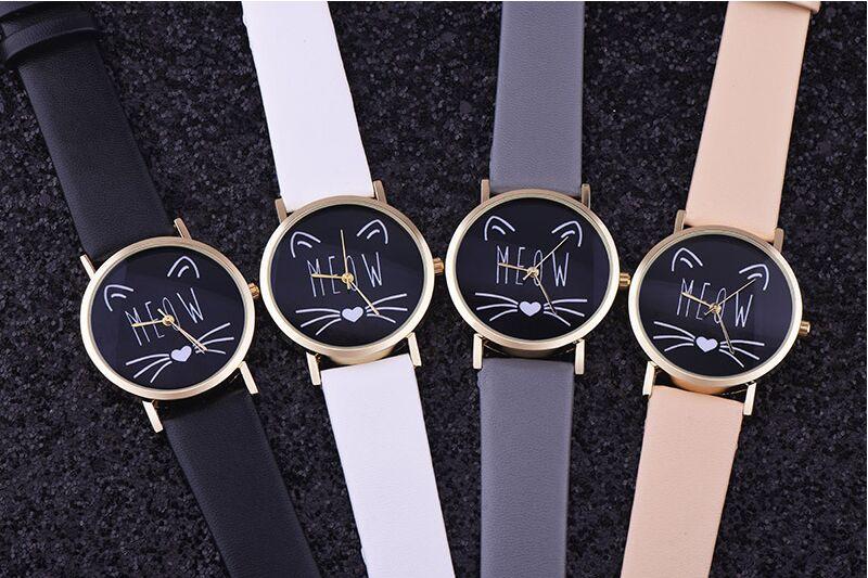 Free 10pcs/lot,Lovely Cat MEOW Screaming Watch Casual Women Wristwatch Luxury Quartz Watch Relogio Feminino Gift Clock