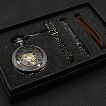 Vintage Black Classic Hollow Stainless Steel Skeleton Mechanical Hand Wind Pocket Watch Pendant Chain Luxury Clock+Gift Box Bag