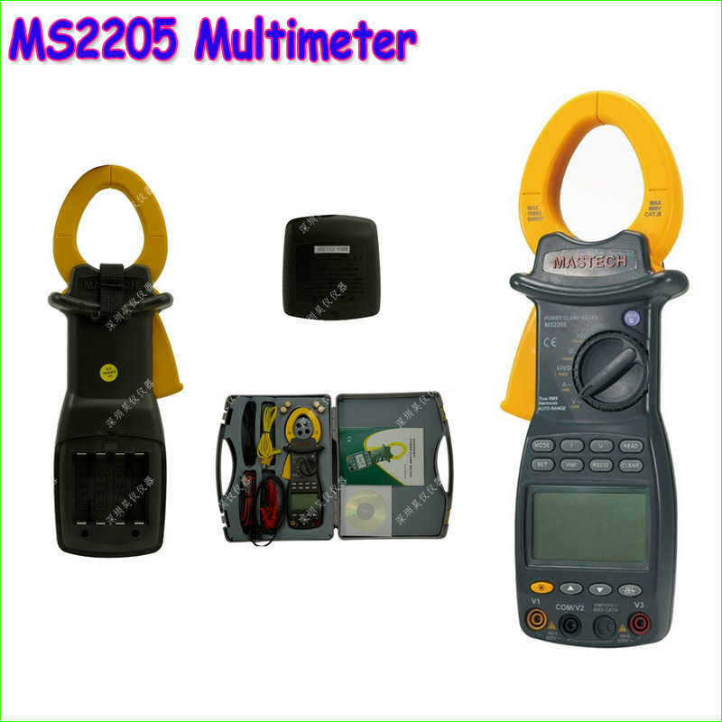 1pcs MS2205 High Sensitivity 3 phase TRMS Digital clamp Meter power factor correction multimeter V/A/W/VA/kVA/KVAR/Hz/kW/PF